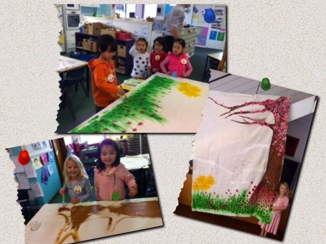 Children working on the quilt