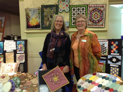 President Gwen and Lesley - Hexagon and Crazy Quilt Group